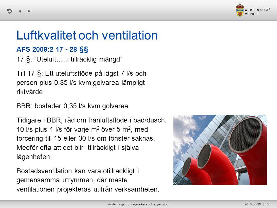 | 2010-05-20Avdelningen för regelarbete och expertstöd38 Luftkvalitet och ventilation 17 §: Uteluft…..i tillräcklig mängd Till 17 §: Ett uteluftsflöde på lägst 7 l/s och person plus 0,35 l/s kvm golvarea lämpligt riktvärde BBR: bostäder 0,35 l/s kvm golvarea Tidigare i BBR, råd om frånluftsflöde i bad/dusch: 10 l/s plus 1 l/s för varje m 2 över 5 m 2, med forcering till 15 eller 30 l/s om fönster saknas.
