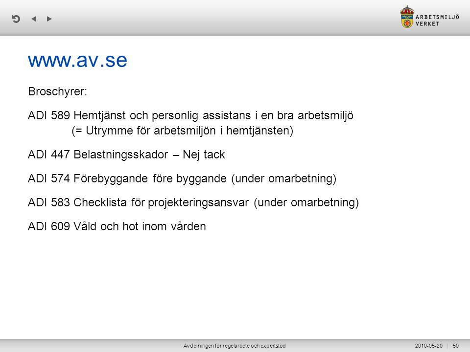 | 2010-05-20Avdelningen för regelarbete och expertstöd50 www.av.se Broschyrer: ADI 589 Hemtjänst och personlig assistans i en bra arbetsmiljö (= Utrymme för arbetsmiljön i hemtjänsten) ADI 447 Belastningsskador – Nej tack ADI 574 Förebyggande före byggande (under omarbetning) ADI 583 Checklista för projekteringsansvar (under omarbetning) ADI 609 Våld och hot inom vården