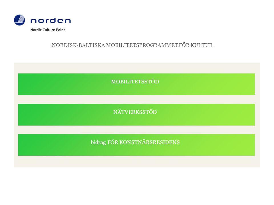 NORDISK-BALTISKA MOBILITETSPROGRAMMET FÖR KULTUR MOBILITETSSTÖD NÄTVERKSSTÖD bidrag FÖR KONSTNÄRSRESIDENS