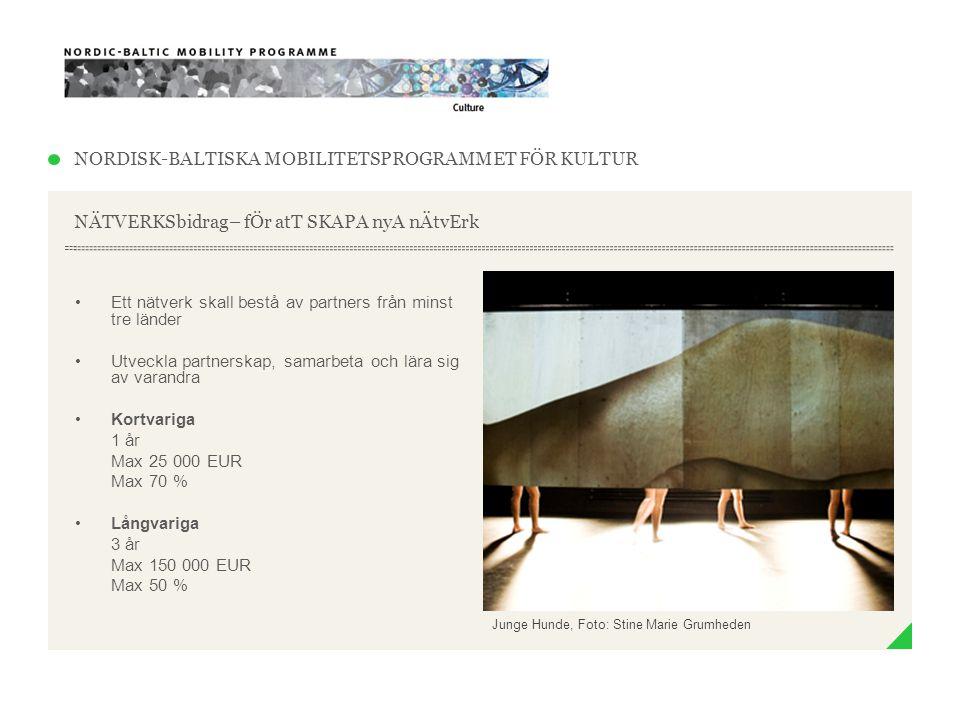 NORDISK-BALTISKA MOBILITETSPROGRAMMET FÖR KULTUR STÖD till nordiska och baltiska KONSTNÄRSRESIDENS •Residenset ansöker om bidrag •…och väljer konstnärerna •Residenset kan väljä individuella konstnärer eller konstnärsgrupper och/eller mindre ensemblen •Ca 2-4 nordiska eller baltiska konstnärer per år •Ca två månaders uppehälle The Place of No Roads, Foto: Ville Lenkkeri