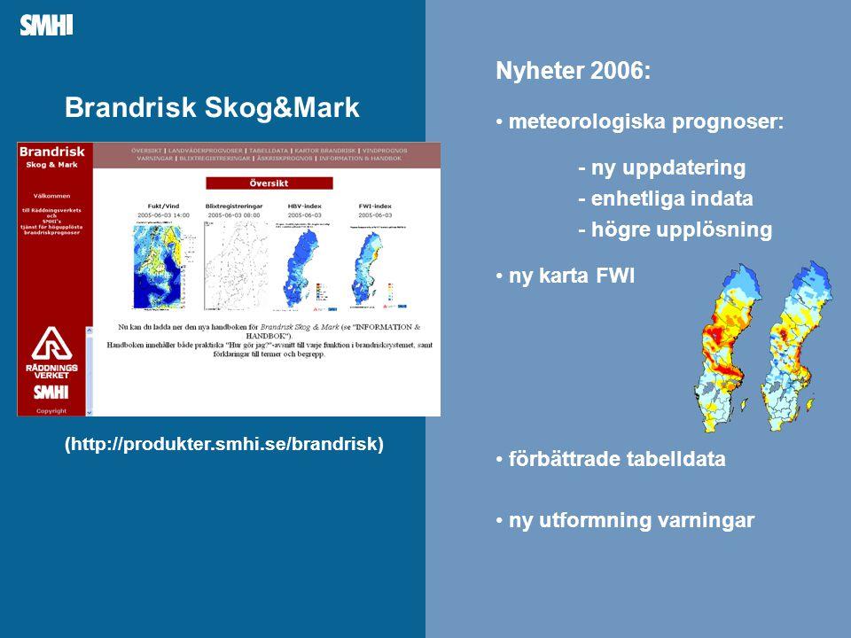 Brandrisk Skog&Mark (http://produkter.smhi.se/brandrisk) - ny uppdatering • meteorologiska prognoser: - enhetliga indata - högre upplösning • ny karta FWI Nyheter 2006: • förbättrade tabelldata • ny utformning varningar