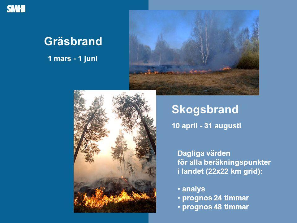 Mellanblå fält till höger: Plats för bild – foto, diagram, film, andra illustrationer Dagliga värden för alla beräkningspunkter i landet (22x22 km grid): • analys • prognos 24 timmar • prognos 48 timmar Gräsbrand 1 mars - 1 juni Skogsbrand 10 april - 31 augusti
