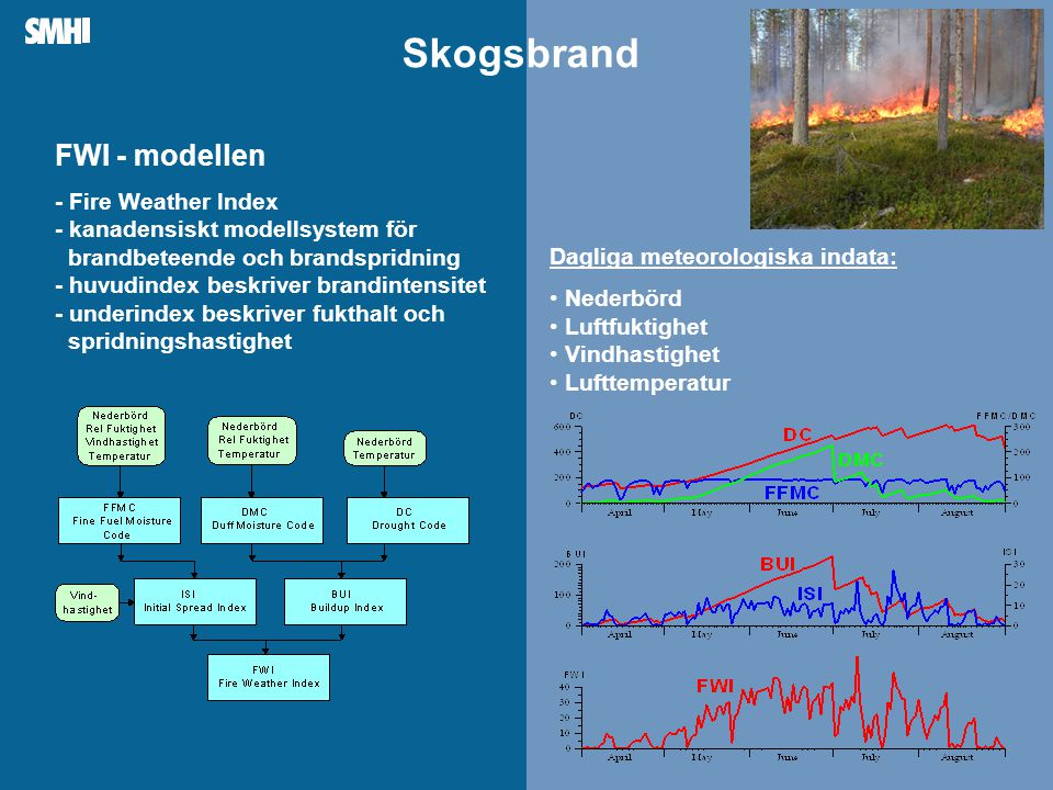 Mellanblå fält till höger: Plats för bild – foto, diagram, film, andra illustrationer Dagliga meteorologiska indata: • Nederbörd • Luftfuktighet • Vindhastighet • Lufttemperatur FWI - modellen - Fire Weather Index - kanadensiskt modellsystem för brandbeteende och brandspridning - huvudindex beskriver brandintensitet - underindex beskriver fukthalt och spridningshastighet Skogsbrand