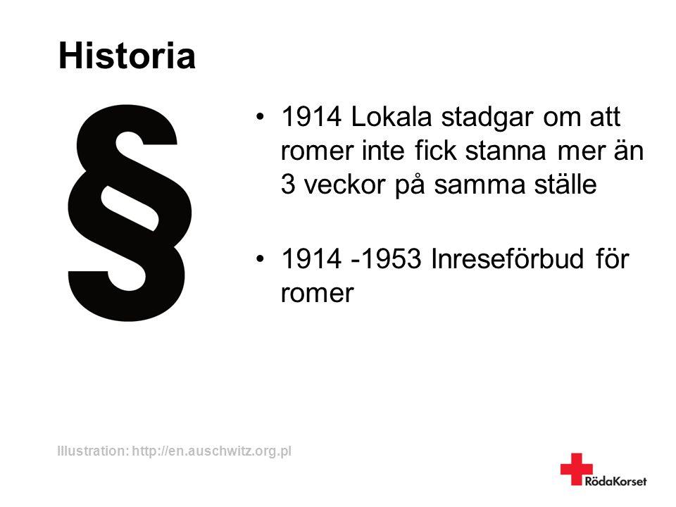 Historia •1914 Lokala stadgar om att romer inte fick stanna mer än 3 veckor på samma ställe •1914 -1953 Inreseförbud för romer Illustration: http://en