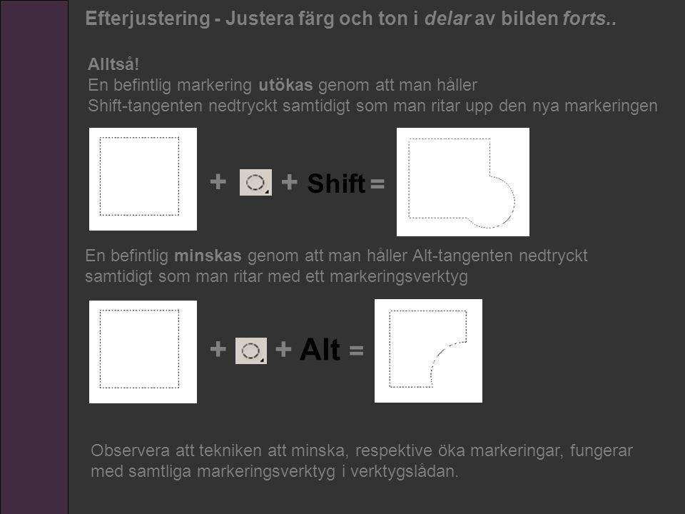 En befintlig minskas genom att man håller Alt-tangenten nedtryckt samtidigt som man ritar med ett markeringsverktyg + + Shift = + + Alt = Alltså! En b