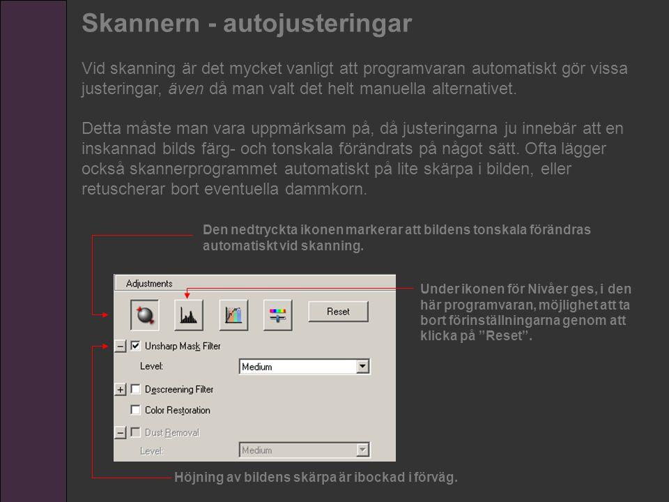 Skannern - autojusteringar Vid skanning är det mycket vanligt att programvaran automatiskt gör vissa justeringar, även då man valt det helt manuella a