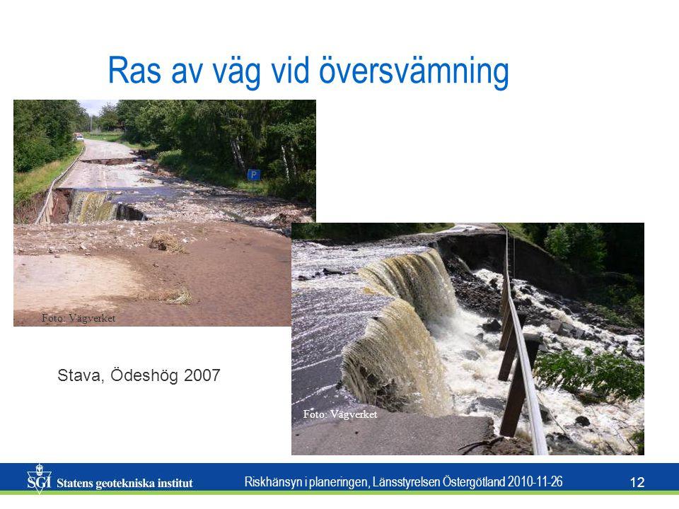 Riskhänsyn i planeringen, Länsstyrelsen Östergötland 2010-11-26 12 Ras av väg vid översvämning Foto: Vägverket Stava, Ödeshög 2007