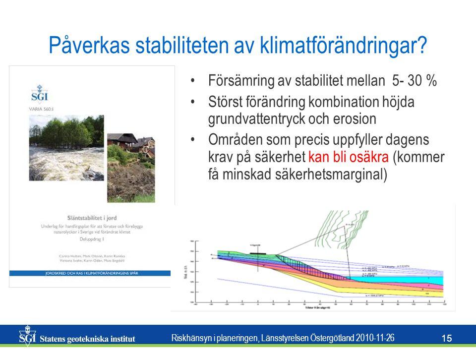 Riskhänsyn i planeringen, Länsstyrelsen Östergötland 2010-11-26 15 Påverkas stabiliteten av klimatförändringar? •Försämring av stabilitet mellan 5- 30