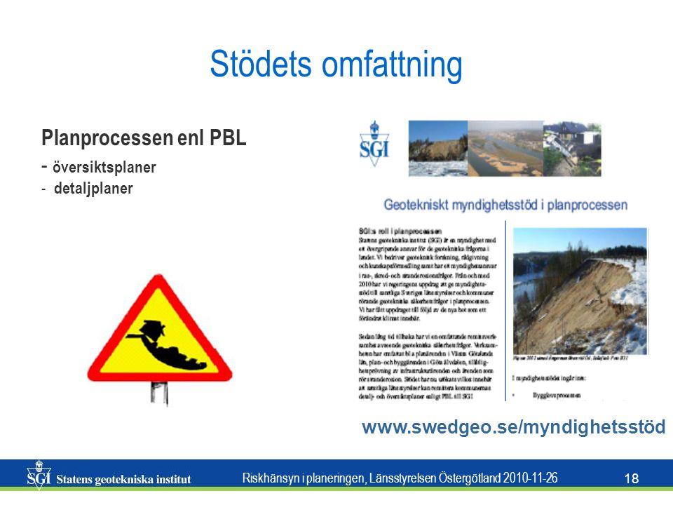 Riskhänsyn i planeringen, Länsstyrelsen Östergötland 2010-11-26 18 Stödets omfattning www.swedgeo.se/myndighetsstöd Planprocessen enl PBL - översiktsp