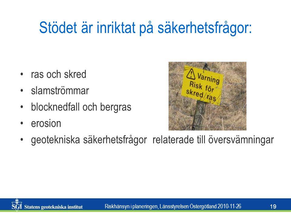 Riskhänsyn i planeringen, Länsstyrelsen Östergötland 2010-11-26 19 Stödet är inriktat på säkerhetsfrågor: •ras och skred •slamströmmar •blocknedfall o