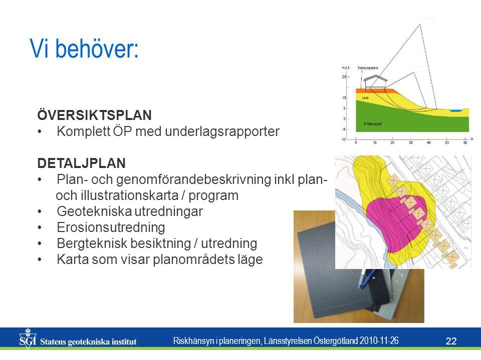 Riskhänsyn i planeringen, Länsstyrelsen Östergötland 2010-11-26 22 Vi behöver: • ÖVERSIKTSPLAN • Komplett ÖP med underlagsrapporter DETALJPLAN • Plan-