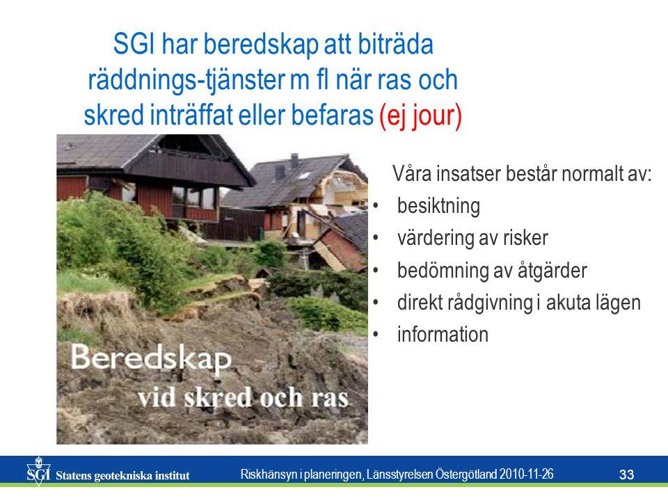 Riskhänsyn i planeringen, Länsstyrelsen Östergötland 2010-11-26 33 SGI har beredskap att biträda räddnings-tjänster m fl när ras och skred inträffat e