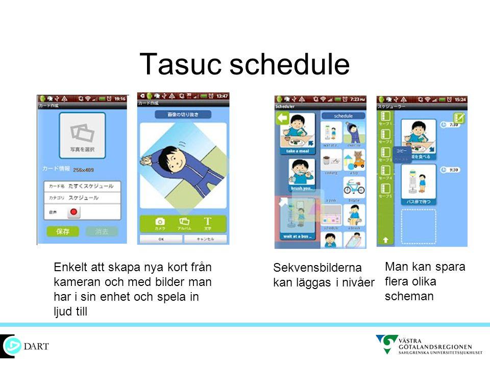 Tasuc schedule Enkelt att skapa nya kort från kameran och med bilder man har i sin enhet och spela in ljud till Sekvensbilderna kan läggas i nivåer Ma