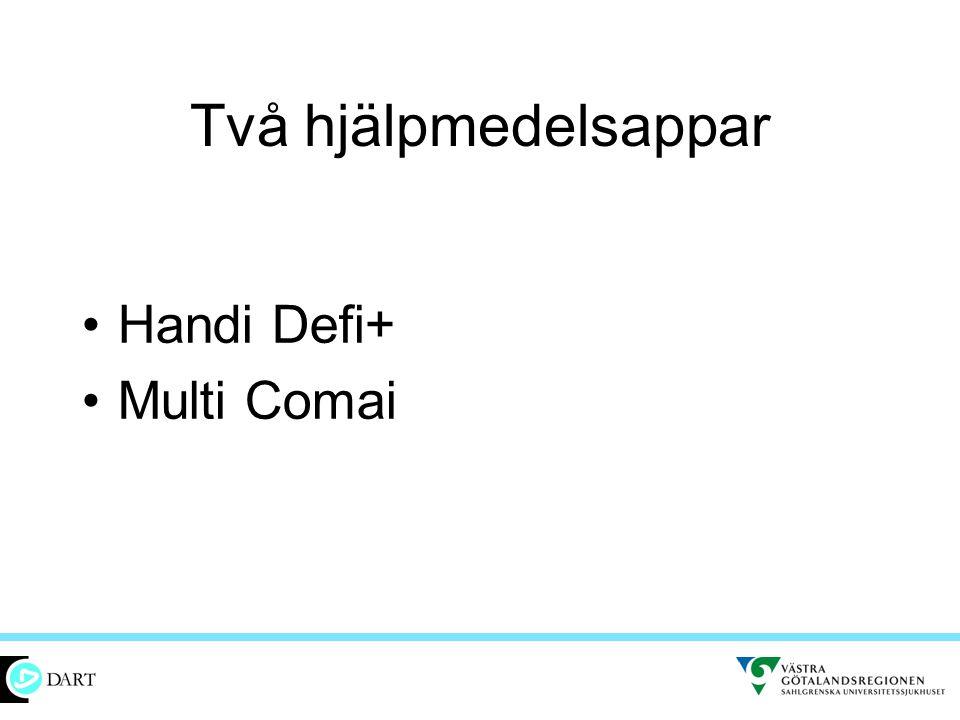 Två hjälpmedelsappar •Handi Defi+ •Multi Comai