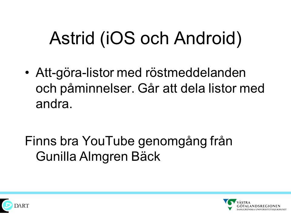 Astrid (iOS och Android) •Att-göra-listor med röstmeddelanden och påminnelser. Går att dela listor med andra. Finns bra YouTube genomgång från Gunilla