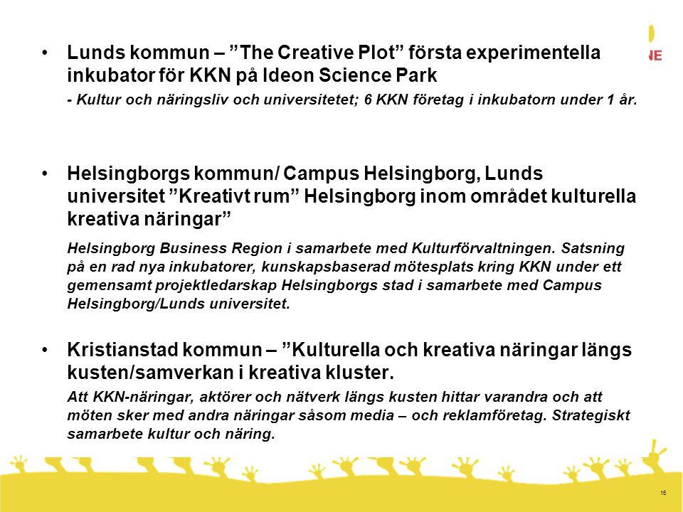 16 •Lunds kommun – The Creative Plot första experimentella inkubator för KKN på Ideon Science Park - Kultur och näringsliv och universitetet; 6 KKN företag i inkubatorn under 1 år.