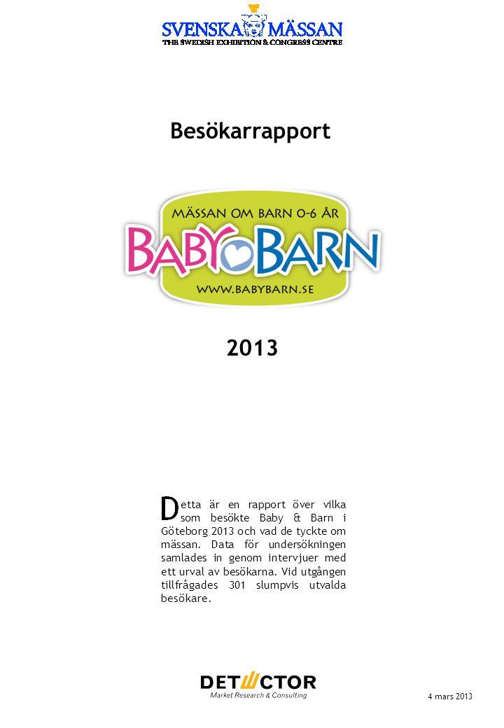 Besökarrapport 4 mars 2013 etta är en rapport över vilka som besökte Baby & Barn i Göteborg 2013 och vad de tyckte om mässan. Data för undersökningen