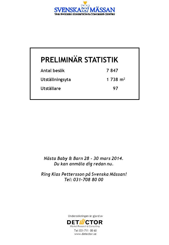 Nästa Baby & Barn 28 - 30 mars 2014. Du kan anmäla dig redan nu. Ring Klas Pettersson på Svenska Mässan! Tel: 031–708 80 00 Undersökningen är gjord av