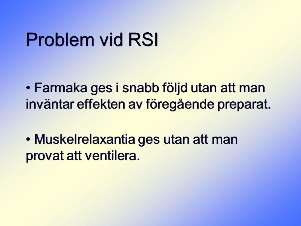 Problem vid RSI • Farmaka ges i snabb följd utan att man inväntar effekten av föregående preparat. • Muskelrelaxantia ges utan att man provat att vent