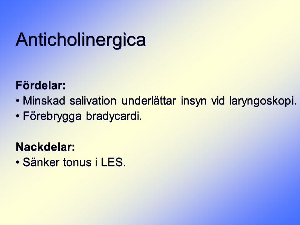 Anticholinergica Fördelar: • Minskad salivation underlättar insyn vid laryngoskopi. • Förebrygga bradycardi. Nackdelar: • Sänker tonus i LES. Fördelar