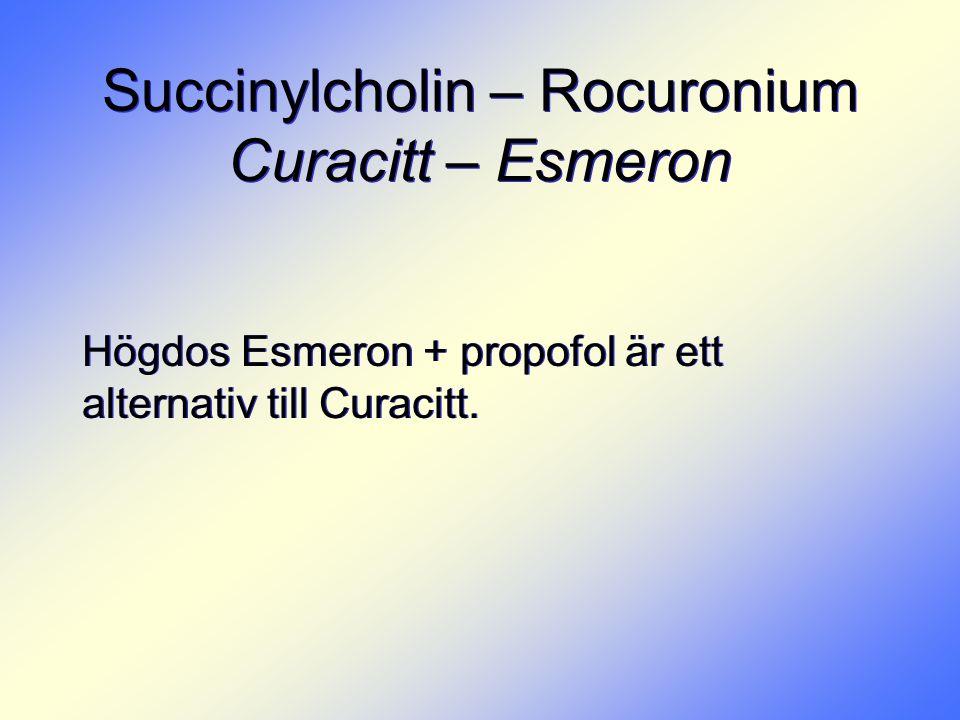 Succinylcholin – Rocuronium Curacitt – Esmeron Högdos Esmeron + propofol är ett alternativ till Curacitt.