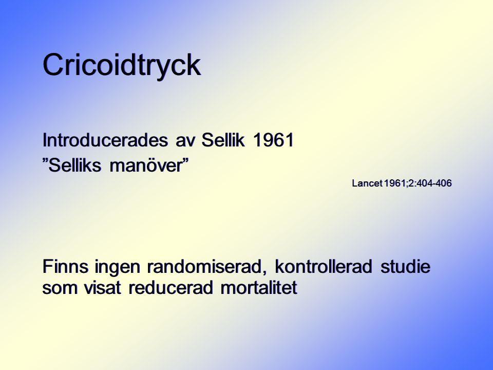 """Cricoidtryck Introducerades av Sellik 1961 """"Selliks manöver"""" Lancet 1961;2:404-406 Finns ingen randomiserad, kontrollerad studie som visat reducerad m"""