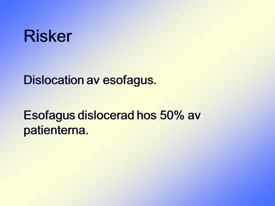 Risker Dislocation av esofagus. Esofagus dislocerad hos 50% av patienterna. Dislocation av esofagus. Esofagus dislocerad hos 50% av patienterna.