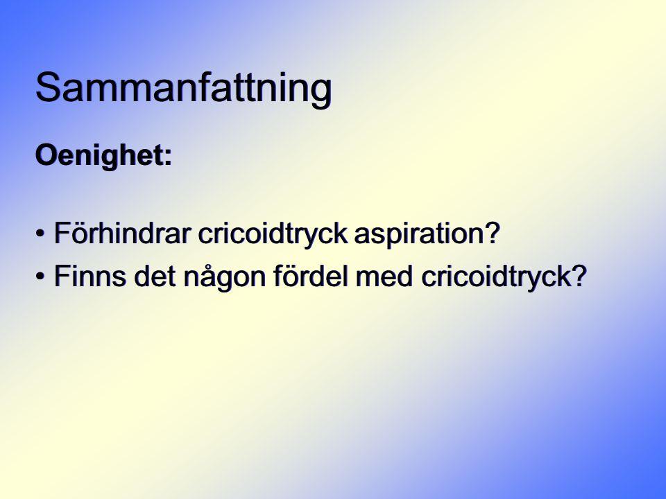 Sammanfattning Oenighet: • Förhindrar cricoidtryck aspiration? • Finns det någon fördel med cricoidtryck? Oenighet: • Förhindrar cricoidtryck aspirati