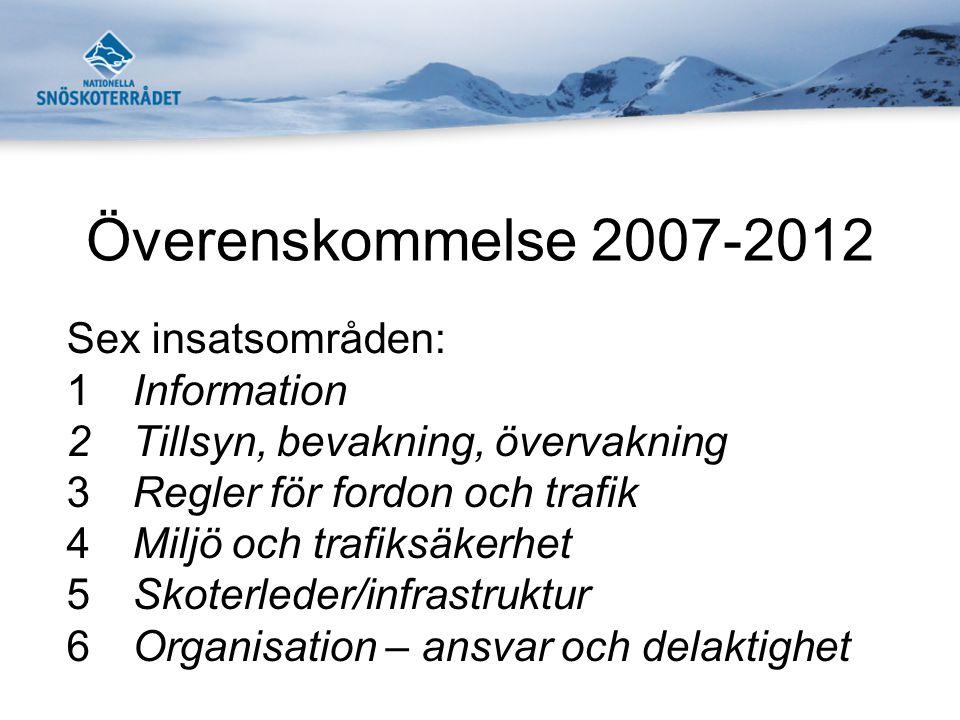 Överenskommelse 2007-2012 Sex insatsområden: 1Information 2Tillsyn, bevakning, övervakning 3Regler för fordon och trafik 4Miljö och trafiksäkerhet 5Sk