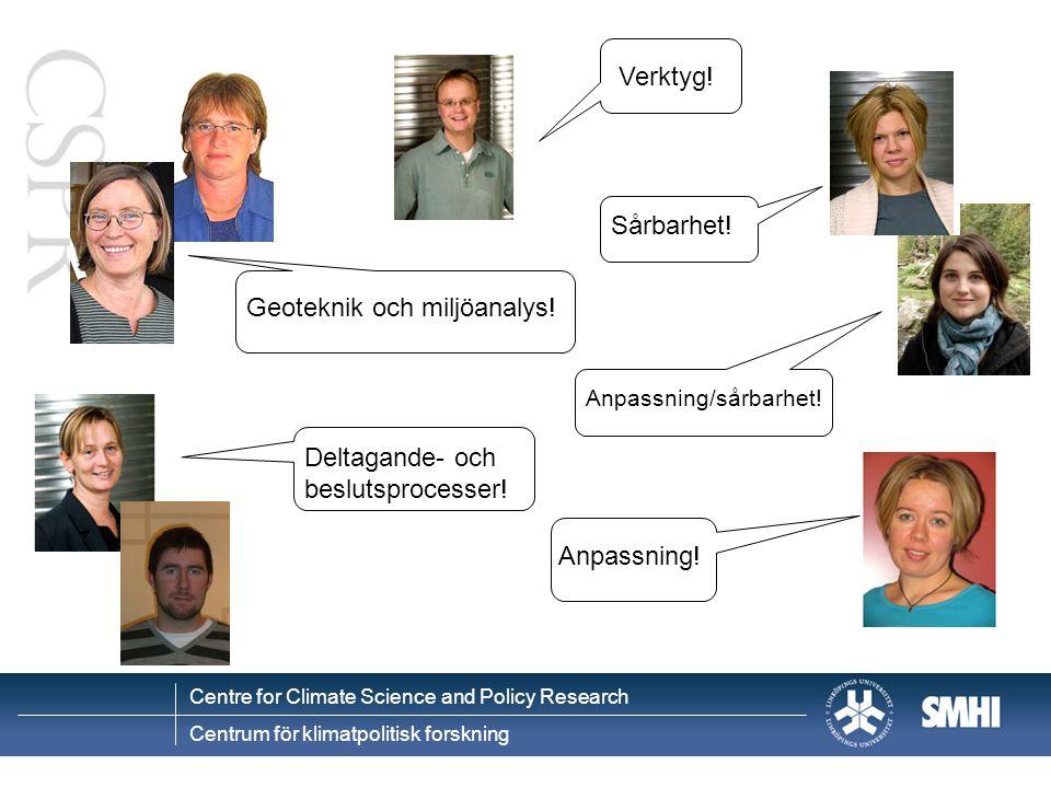 Centre for Climate Science and Policy Research Centrum för klimatpolitisk forskning Nerskalade socioekonomiska scenarier IPCC SRES fyra scenarioutgångspunkter (Carter et al 2004) GlobalRegional Miljöaspekter Ekonomi A1 A2 B1B2 Drivkrafter FolkmängdEkonomiTeknikEnergiJordbrukMarkanvändning