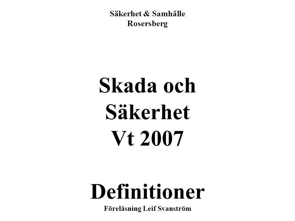 1 Säkerhet & Samhälle Rosersberg Skada och Säkerhet Vt 2007 Definitioner Föreläsning Leif Svanström