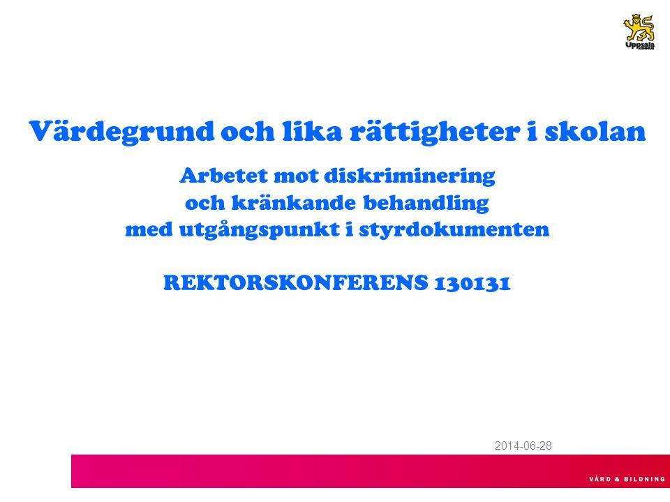 2014-06-28 Värdegrund och lika rättigheter i skolan Arbetet mot diskriminering och kränkande behandling med utgångspunkt i styrdokumenten REKTORSKONFERENS 130131