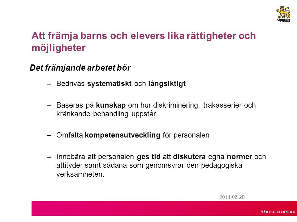 2014-06-28 Att främja barns och elevers lika rättigheter och möjligheter Det främjande arbetet bör –Bedrivas systematiskt och långsiktigt –Baseras på