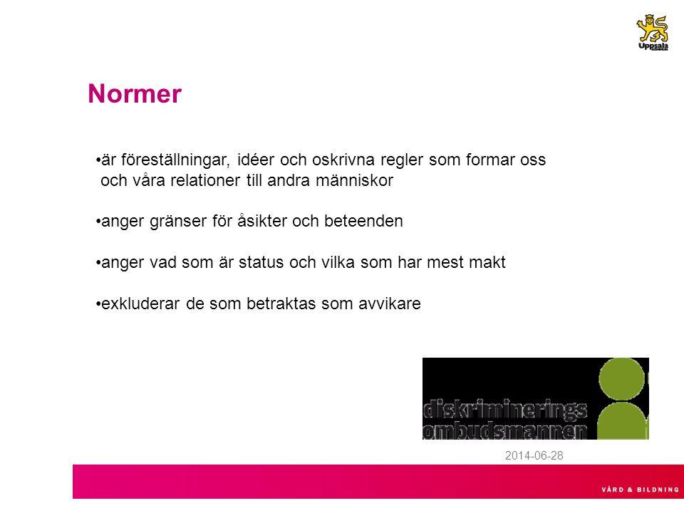 2014-06-28 Normer •är föreställningar, idéer och oskrivna regler som formar oss och våra relationer till andra människor •anger gränser för åsikter och beteenden •anger vad som är status och vilka som har mest makt •exkluderar de som betraktas som avvikare