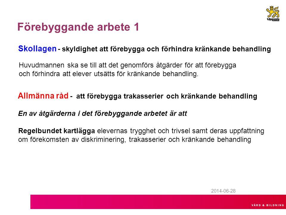 2014-06-28 Förebyggande arbete 1 Skollagen - skyldighet att förebygga och förhindra kränkande behandling Huvudmannen ska se till att det genomförs åtg