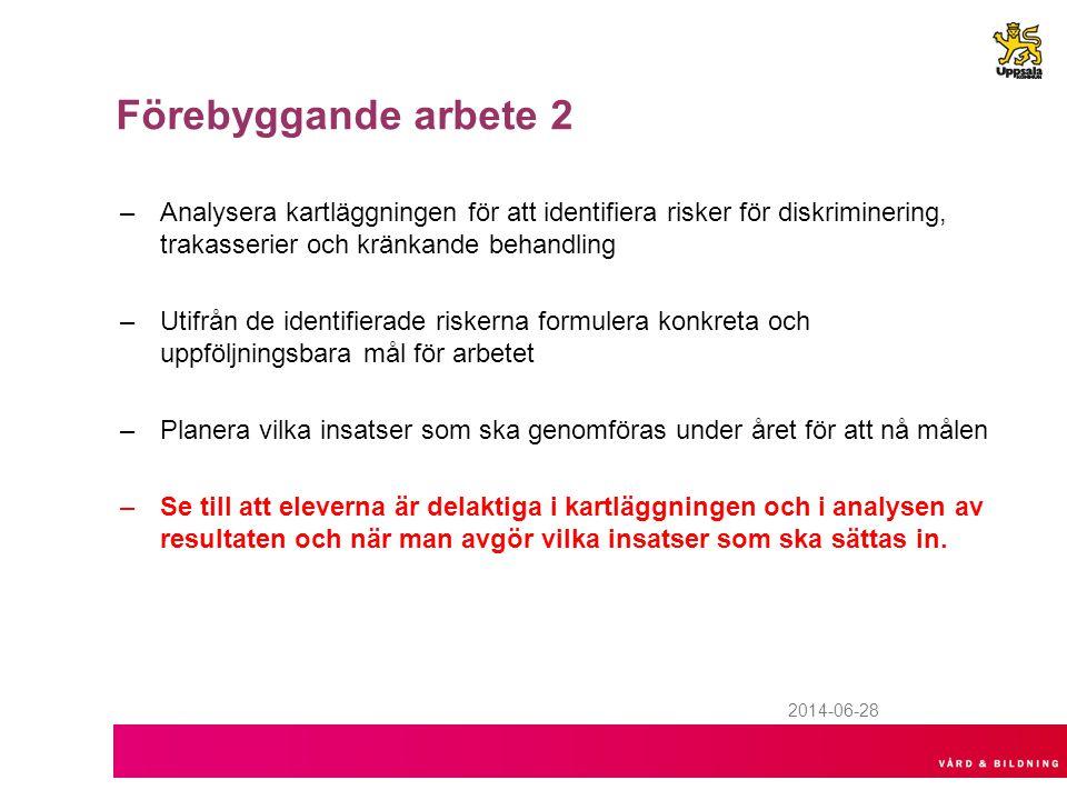 2014-06-28 Förebyggande arbete 2 –Analysera kartläggningen för att identifiera risker för diskriminering, trakasserier och kränkande behandling –Utifr