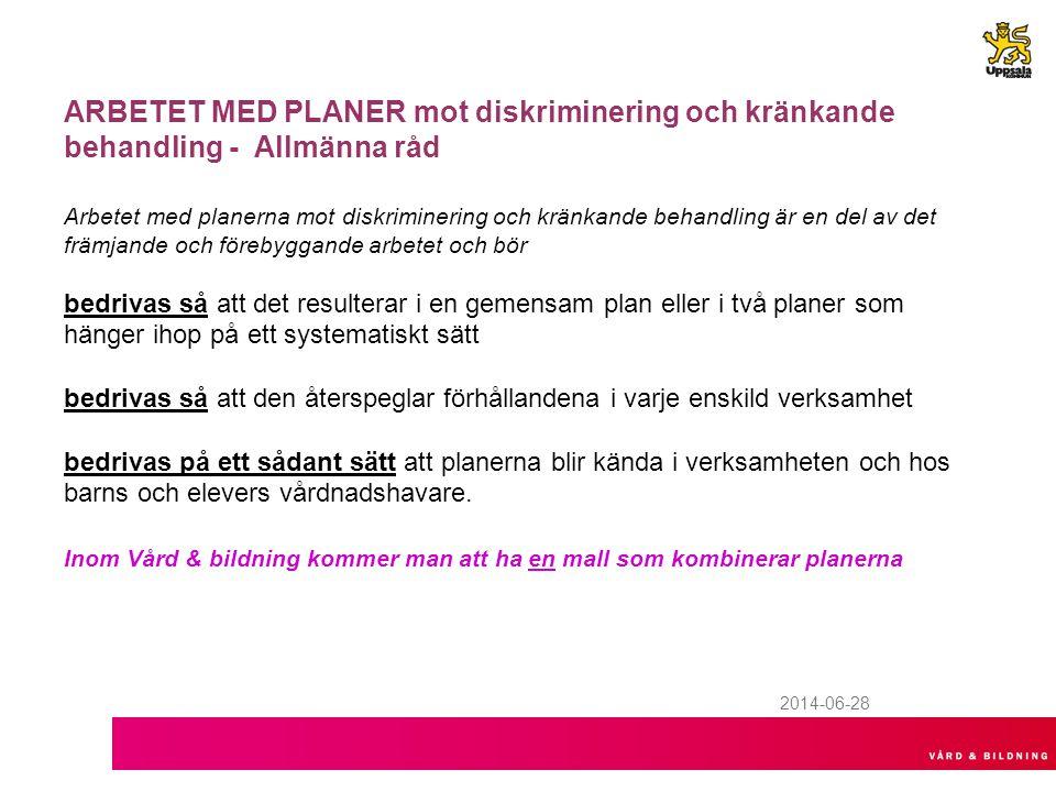 2014-06-28 ARBETET MED PLANER mot diskriminering och kränkande behandling - Allmänna råd Arbetet med planerna mot diskriminering och kränkande behandl