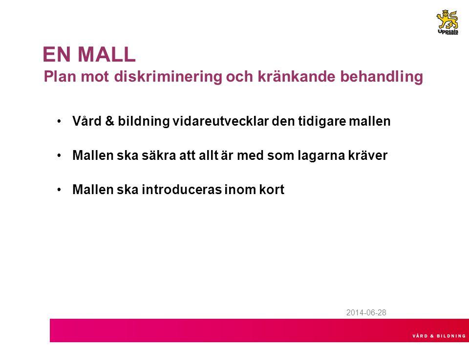 2014-06-28 EN MALL Plan mot diskriminering och kränkande behandling •Vård & bildning vidareutvecklar den tidigare mallen •Mallen ska säkra att allt är