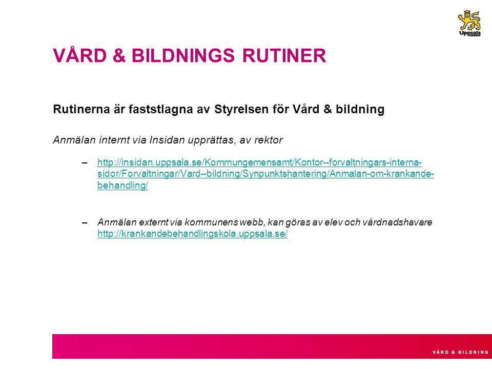 VÅRD & BILDNINGS RUTINER Rutinerna är faststlagna av Styrelsen för Vård & bildning Anmälan internt via Insidan upprättas, av rektor –http://insidan.up