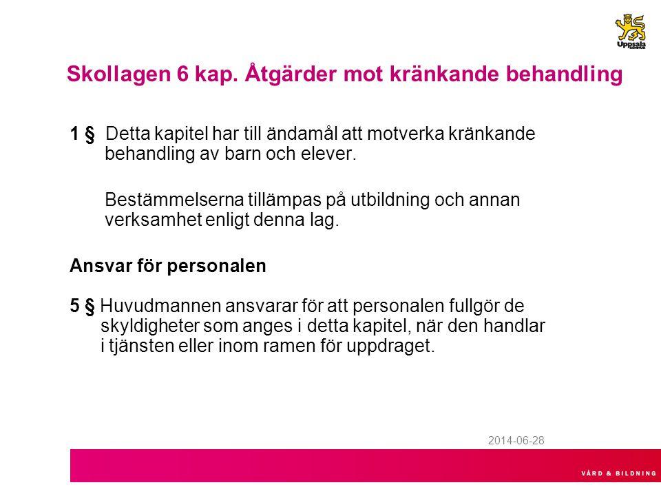 VÅRD & BILDNINGS RUTINER Rutinerna är faststlagna av Styrelsen för Vård & bildning Anmälan internt via Insidan upprättas, av rektor –http://insidan.uppsala.se/Kommungemensamt/Kontor--forvaltningars-interna- sidor/Forvaltningar/Vard--bildning/Synpunktshantering/Anmalan-om-krankande- behandling/http://insidan.uppsala.se/Kommungemensamt/Kontor--forvaltningars-interna- sidor/Forvaltningar/Vard--bildning/Synpunktshantering/Anmalan-om-krankande- behandling/ –Anmälan externt via kommunens webb, kan göras av elev och vårdnadshavare http://krankandebehandlingskola.uppsala.se/ http://krankandebehandlingskola.uppsala.se/