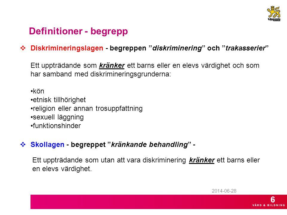 """2014-06-28 Definitioner - begrepp  Diskrimineringslagen - begreppen """"diskriminering"""" och """"trakasserier"""" Ett uppträdande som kränker ett barns eller e"""