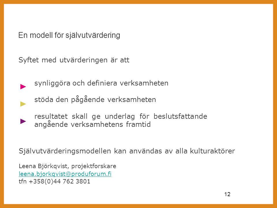 12 En modell för självutvärdering synliggöra och definiera verksamheten stöda den pågående verksamheten resultatet skall ge underlag för beslutsfattande angående verksamhetens framtid Syftet med utvärderingen är att Självutvärderingsmodellen kan användas av alla kulturaktörer Leena Björkqvist, projektforskare leena.bjorkqvist@produforum.fi tfn +358(0)44 762 3801