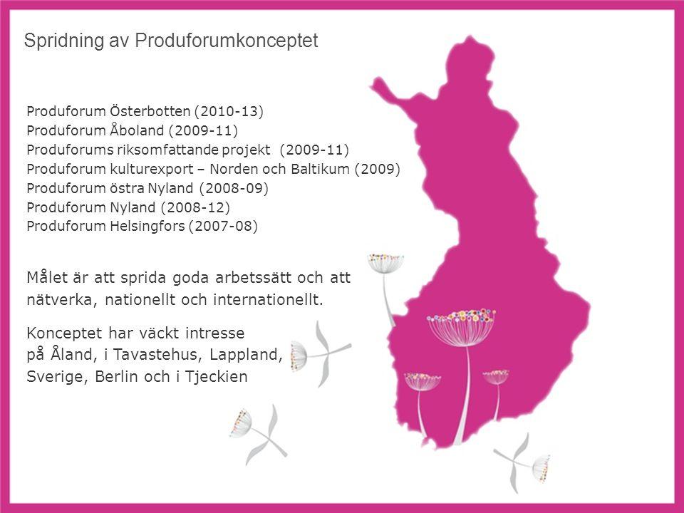 7 Spridning av Produforumkonceptet Produforum Österbotten (2010-13) Produforum Åboland (2009-11) Produforums riksomfattande projekt (2009-11) Produforum kulturexport – Norden och Baltikum (2009) Produforum östra Nyland (2008-09) Produforum Nyland (2008-12) Produforum Helsingfors (2007-08) Målet är att sprida goda arbetssätt och att nätverka, nationellt och internationellt.