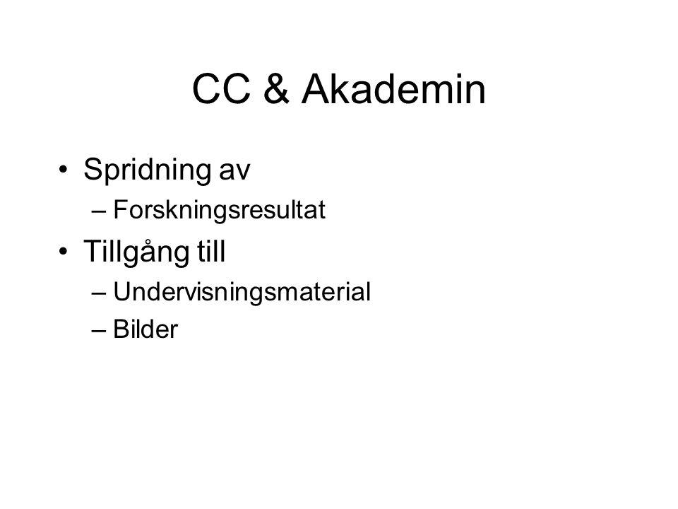 CC & Akademin •Spridning av –Forskningsresultat •Tillgång till –Undervisningsmaterial –Bilder