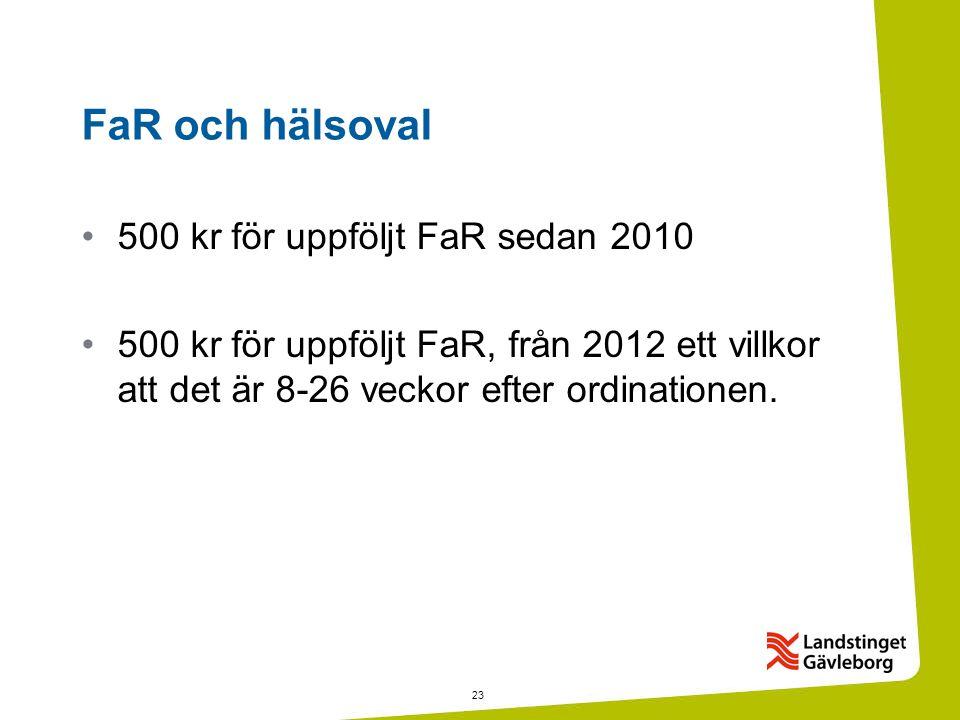23 FaR och hälsoval •500 kr för uppföljt FaR sedan 2010 •500 kr för uppföljt FaR, från 2012 ett villkor att det är 8-26 veckor efter ordinationen.
