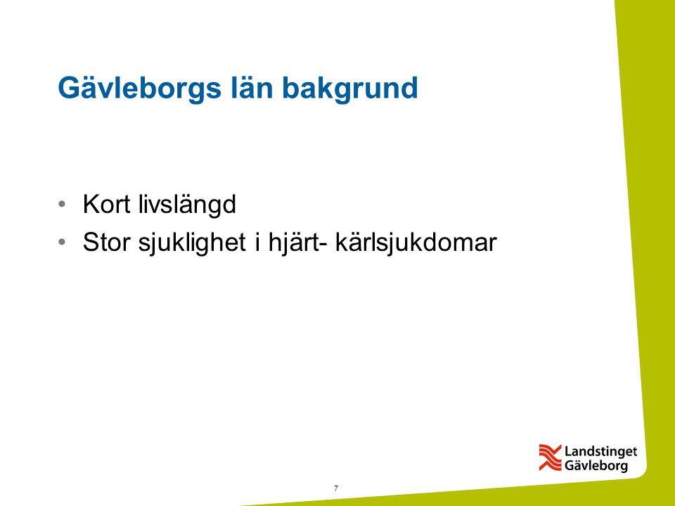7 Gävleborgs län bakgrund •Kort livslängd •Stor sjuklighet i hjärt- kärlsjukdomar