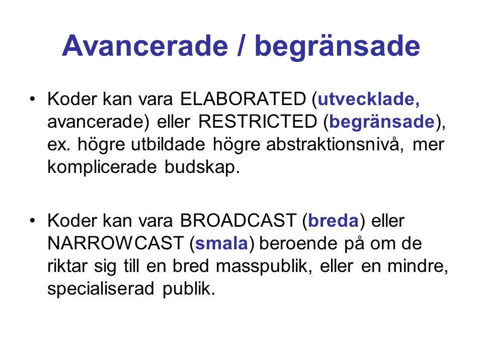 Avancerade / begränsade •Koder kan vara ELABORATED (utvecklade, avancerade) eller RESTRICTED (begränsade), ex. högre utbildade högre abstraktionsnivå,