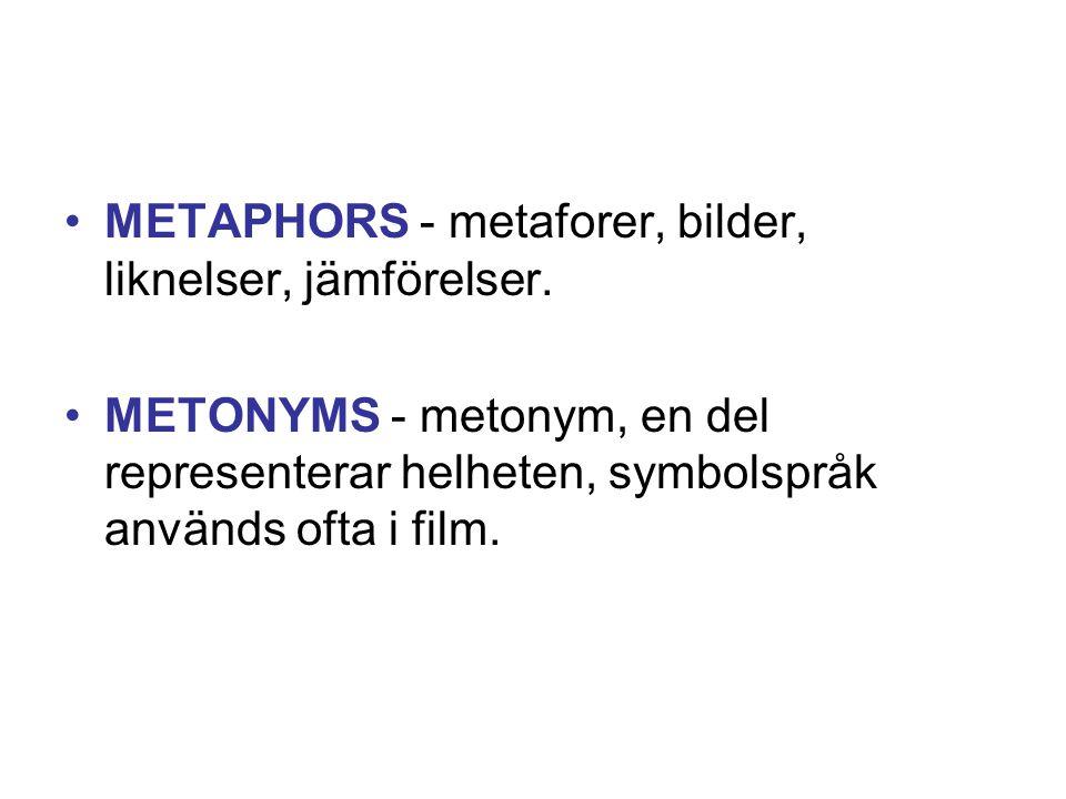 •METAPHORS - metaforer, bilder, liknelser, jämförelser. •METONYMS - metonym, en del representerar helheten, symbolspråk används ofta i film.