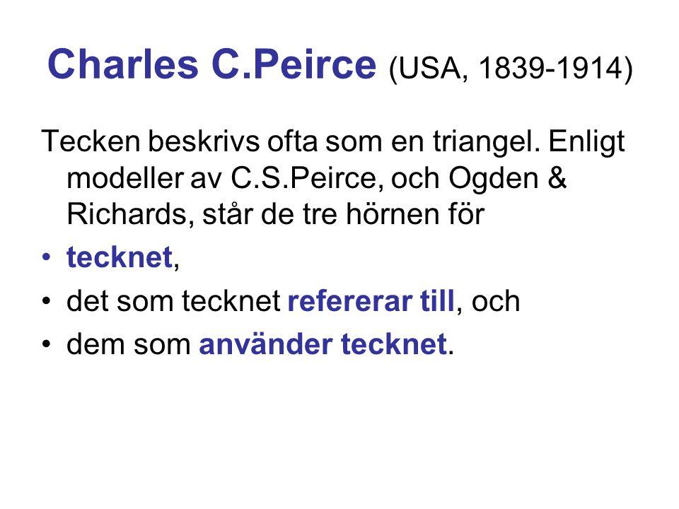 Charles C.Peirce (USA, 1839-1914) Tecken beskrivs ofta som en triangel. Enligt modeller av C.S.Peirce, och Ogden & Richards, står de tre hörnen för •t