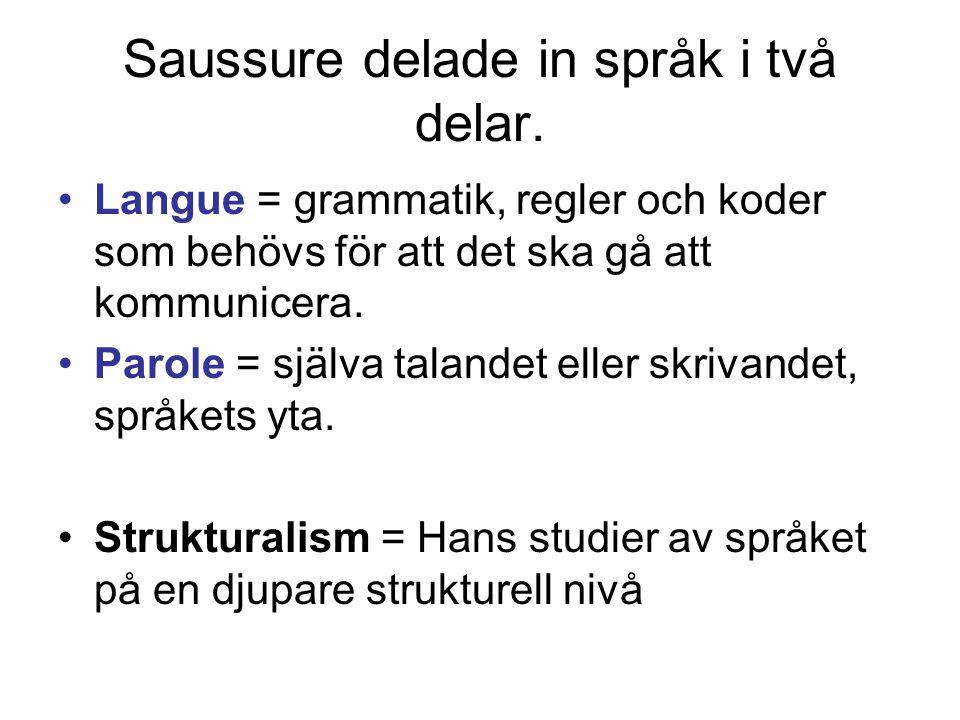 Saussure delade in språk i två delar. •Langue = grammatik, regler och koder som behövs för att det ska gå att kommunicera. •Parole = själva talandet e